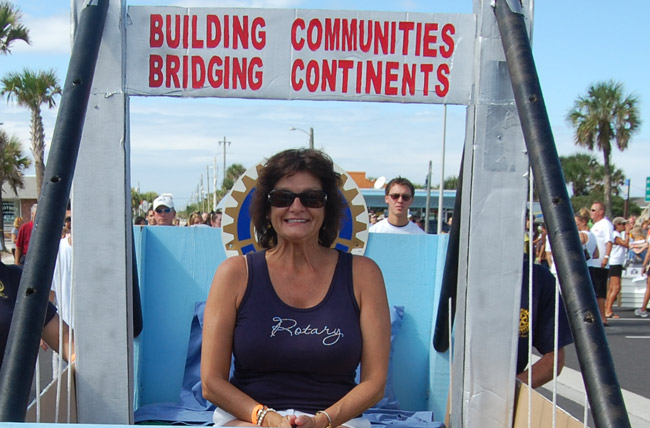 Lea Stokes, participating in Flagler Beach's Bed Race two years ago. (© FlaglerLive)