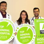 """AdventHealth Palm Coast was one of 37 hospitals in the nation to earn a Top General Hospital distinction by The Leapfrog Group. Approximately 2,100 hospitals were considered for this designation that highlights achievements in patient safety and quality. In addition, AdventHealth Palm Coast has also received consecutive """"A"""" grades from The Leapfrog Group for quality and safety since 2017. Pictured here from left to right: hospitalists Dr. Hardik Patel, Dr. Zoheb Shaikh and Dr. Bahishta Yaqubi. (AdventHealth)"""