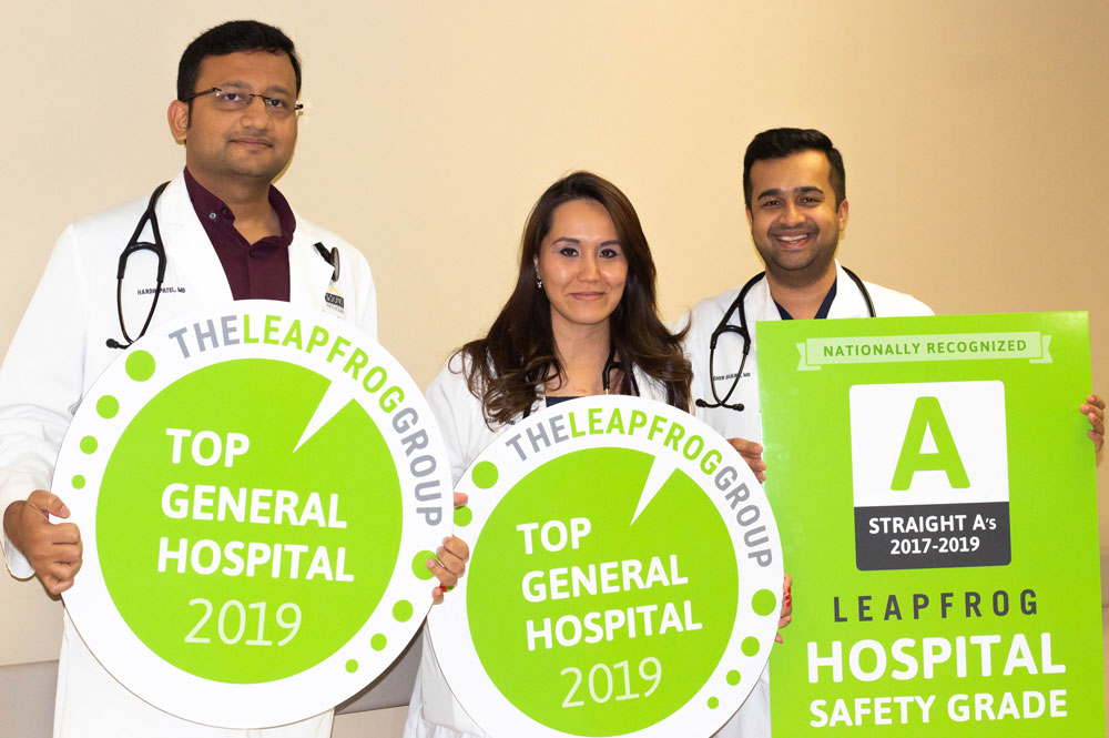 "AdventHealth Palm Coast was one of 37 hospitals in the nation to earn a Top General Hospital distinction by The Leapfrog Group. Approximately 2,100 hospitals were considered for this designation that highlights achievements in patient safety and quality. In addition, AdventHealth Palm Coast has also received consecutive ""A"" grades from The Leapfrog Group for quality and safety since 2017. Pictured here from left to right: hospitalists Dr. Hardik Patel, Dr. Zoheb Shaikh and Dr. Bahishta Yaqubi. (AdventHealth)"