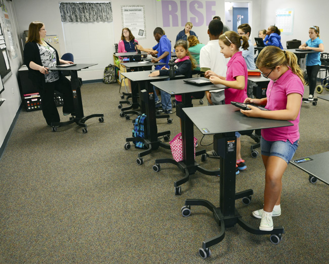 In some classes at Belle Terre Elementary, sitting is no longer the default position for students.