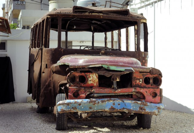 Ain al-Rummaneh bus, which is said to have caused the Lebanese civil war, is displayed in Haret Hreik suburb, Beirut, Lebanon,