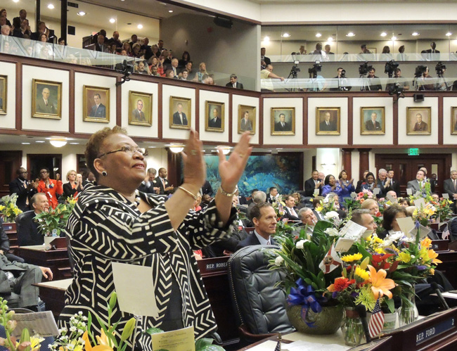 "The Florida Legislature is in the money. That's Sen. Geraldine F. ""Geri"" Thompson, the Orange County Democrats, giving Gov. Rick Scott a standing ovation earlier this year. (Mark Foley)"