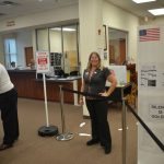 Flagler County Elections Supervisor Kaiti Lenhart during a more normal election, in 2017, at the early-voting site at her office in Bunnell. (© FlaglerLive)
