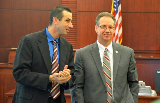 Assistant State Attorneys Jason Lewis, left, and Mark Johnson had a good day Monday. (© FlaglerLive)