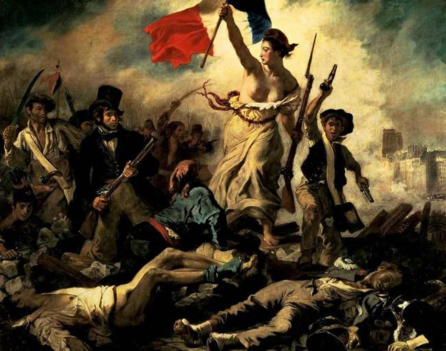 Delacroix's ' La Liberté guidant le peuple,' Liberty Leading the People, from 1830).