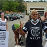 Linda Sharpe-Matthews, who heads the Flagler Branch of the NAACP, at a Black Lives Matter march in June in Palm Coast, will be among the speakers at Friday's motorized march. (© FlaglerLive)