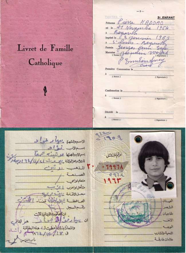 "Talk about sinister: my 'Catholic Family Booklet,"" a sort of birth, baptism and death certificate all in one, that our church stated 'must be conserved by the head of the family,' and that conveniently included space for our death date. Below it, my old Lebanese identity card, with the unfortunate inclusion of the bearer's religion. It was a requirement to carry the card at all times, and it was based on that detail that militias from both sides--Muslim and Christian--would decide whose throats to cut and whose to spare at innumerable checkpoints during the civil war, an experience that left many of us feeling nowhere near under god, then or since. Click on the image for larger view. (© FlaglerLive)"