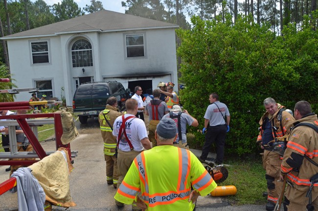 The fire was contained to the garage. (© FlaglerLive)