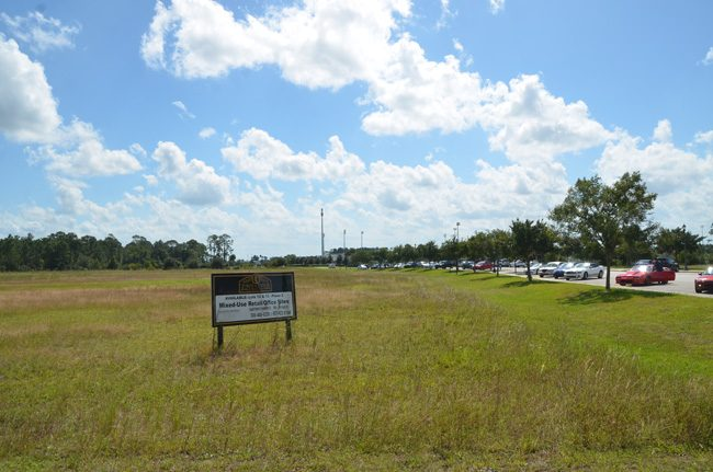 The three-building, 88-unit apartment complex will go up within sight of Flagler Palm Coast High School to the south and Palm Coast City Hall to the north. (c FlaglerLive)