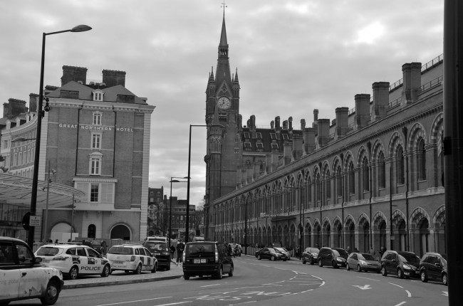 London has always been a black and white sort of town, at least in memory. This is around St. Pancras Station earlier today. Click on the image for larger view. (c FlaglerLive)