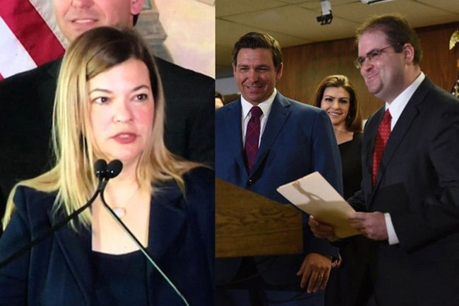 Barbara Lagoa and Robert Luck at the time of their nominations, with Gov. Ron DeSantis, earlier this year.