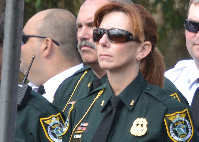 Lynn Catoggio during Flagler County Sheriff Jim Manfre's swearing in last January. (© FlaglerLive)