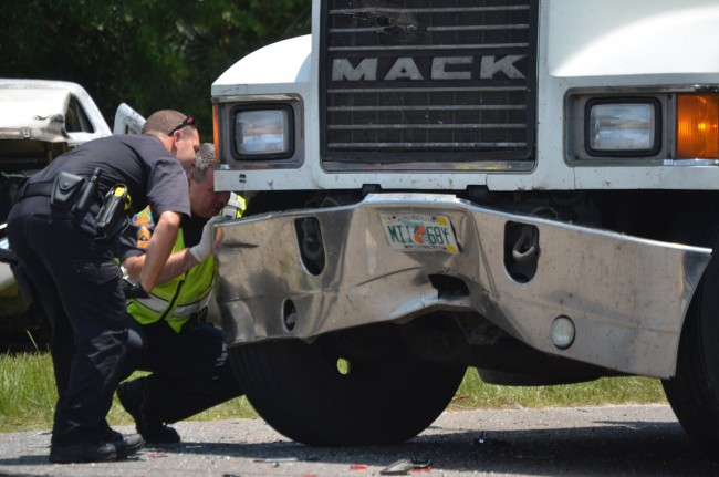 The truck's fender was dented. Click on the image for larger view. (© FlaglerLive)