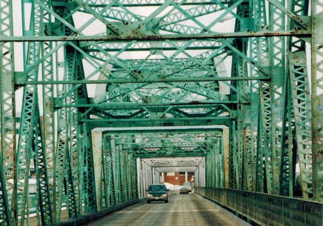 The Bridge Avenue Bridge across the St. John River between Madawaska, Maine, and Edmunston, Canada. (© FlaglerLive)