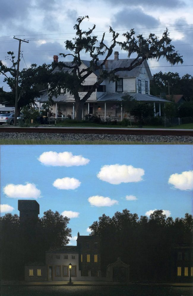 Magritte in Bunnell: top, a house on Railroad Street. Bottom, Magritte's 'Empire of Light,' from 1898. Click on the image for larger view. (© FlaglerLive)