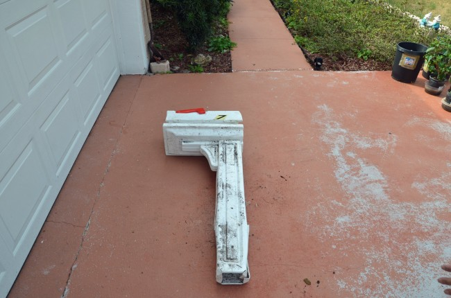 The mailbox after it was partially reassembled. Click on the image for larger view. (© FlaglerLive)