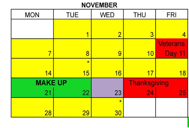 Two of the five days the school district and students lost to Hurricane Matthew will be made up during Thanksgiving week. See the fuller calendar below.