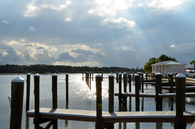 Marineland's new marina: no boats, but pretty pylons. (© FlaglerLive)