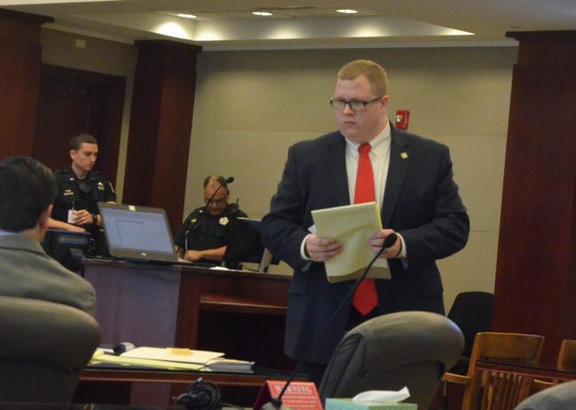 Assistant State Attorney Mark Lewis turned the case into a clinic on demolishing witnesses' credibility that would have served law students well. But none were in the audience. (© FlaglerLive)
