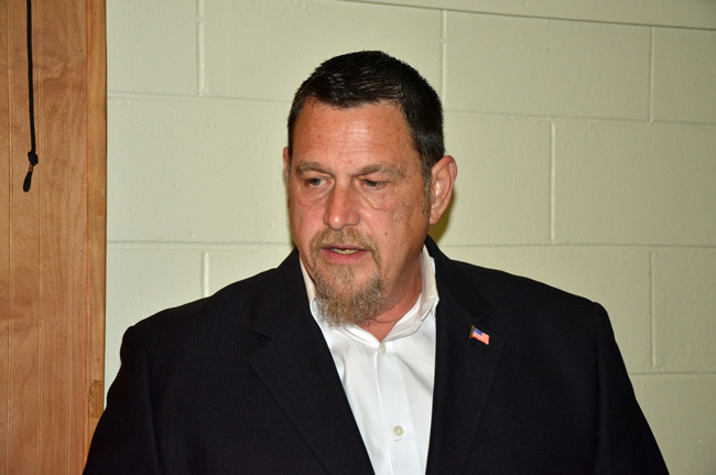 Mark C. Richter announced his candidacy for Flagler County Commission at a Ronald Reagan Republican Assemblies meeting in February. (© FlaglerLive)