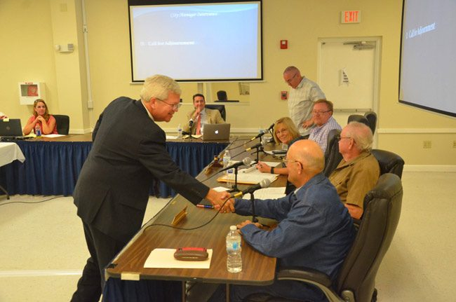 Martin Murphy at the end of his job interview with the Bunnell City Commission last Monday. The commission voted 3-2 to offer him the job this evening. (© FlaglerLive)