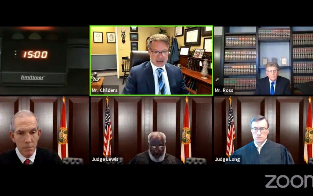 The appeal was argued on Zoom before, Judges (© FlaglerLive)