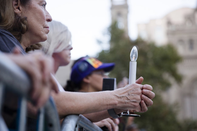 Until the next massacre. A vigil in Philadelphia for the victims of the Las Vegas mass shooting. (Governor's office.)