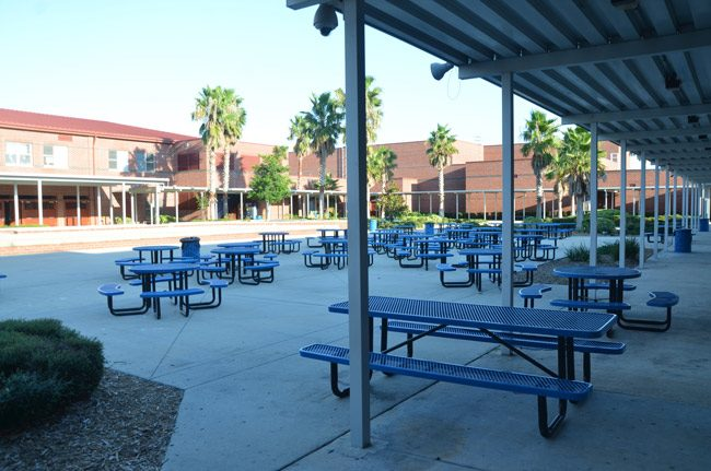 Two of the fights took place in the courtyard of Matanzas High School, as students were having lunch. (© FlaglerLive)