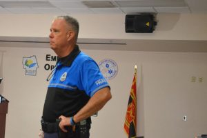 Flagler Beach Police Chief Matt Doughney at the county's Emergency Operations Center last fall. (© FlaglerLive)