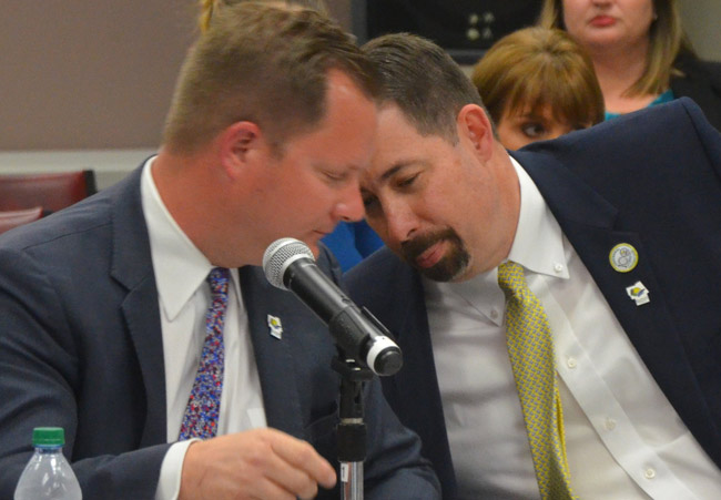Flagler Tourism Director Matt Dunn, left, and County Administrator Craig Coffey. (© FlaglerLive)