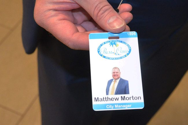 Today is Matthew Morton's first day as Palm Coast's new city manager. He is the city's third manager in its 20-year history. (© FlaglerLive)