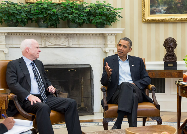 John McCain and Barack Obama at the White House ion 2013. (White House)