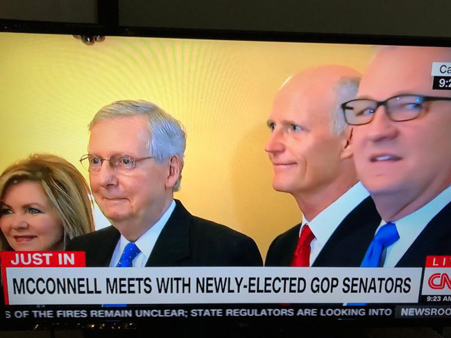 Sen. Majority Leader Mitch McConnell wasted no time welcoming Rick Scott to the Republican majority. (NSF)