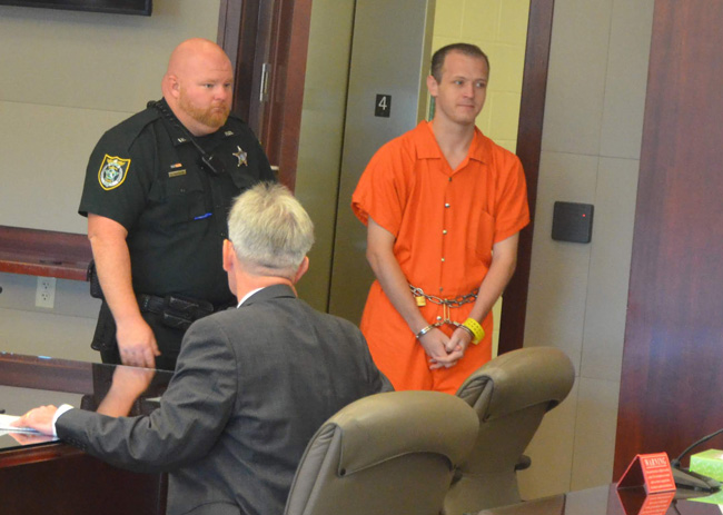 James McDevitt as he entered the courtroom today. (© FlaglerLive)
