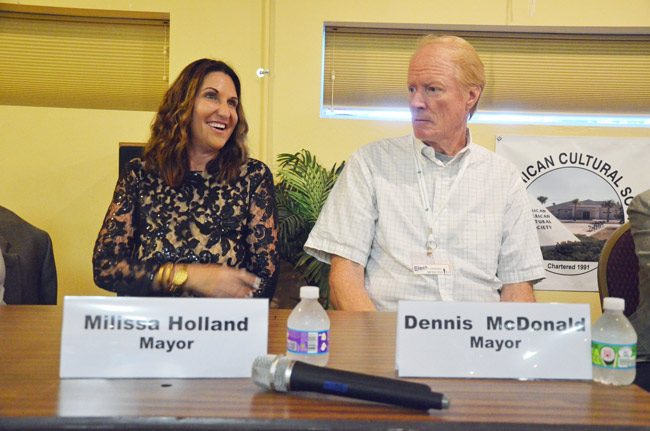 There's always been an element of the personal in Dennis McDonald's chronic battles with Palm Coast. He ran for mayor in 2016. Milissa Holland bested him and others. She will now be among the council members deciding how to battle him through his latest lawsuit against the city. (© FlaglerLive)