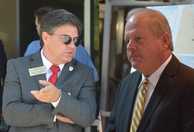 Flagler County Commission Chairman Nate McLaughlin, left, and Flagler Beach City Manager Larry Newsom. (© FlaglerLive)