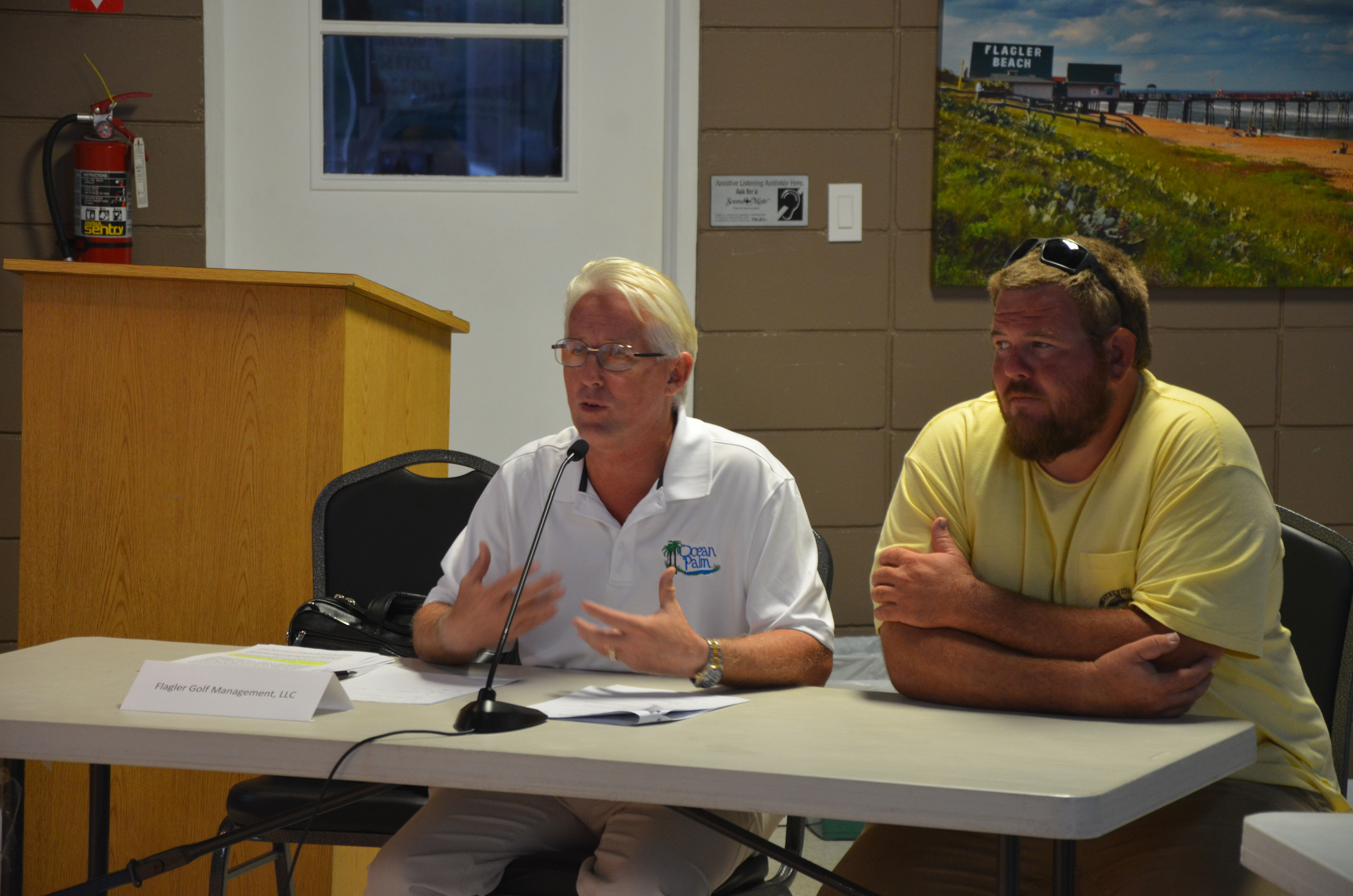 Flagler Golf Management President Terry McManus, left, took responsibility for a more lax accounting approach than city government was willing to put up with at the city-owned golf course leased to McManus's team. But there is still some lack of clarity on certain issues. (c FlaglerLive)