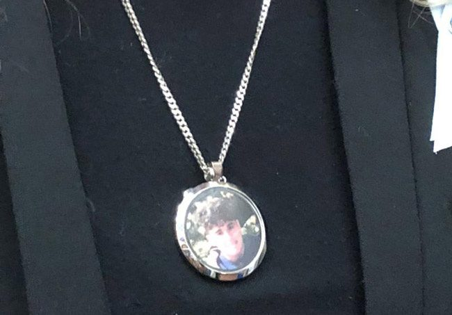 A medallion bearing the image of one of the students murdered in the Parkland school massacre in February. (NSF)