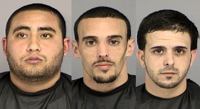 From left, Jordan Marrero, Michael Vieira and Christopher Medeiros, all booked into flagler county jail. (FCSO)