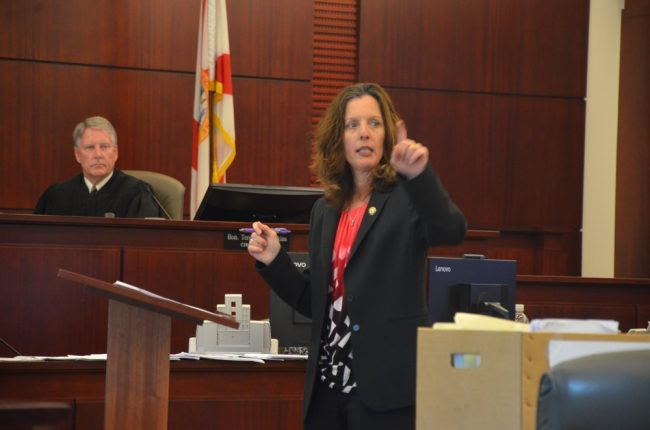 Assistant State Attorney Melissa Clark didn't lack for evidence. Circuit JUdge Terence Perkins presided. Click on the image for larger view. (© FlaglerLive)