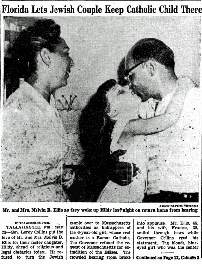 The article on the front page of The New York Times on the Ellis's victory, on May 24, 1957.