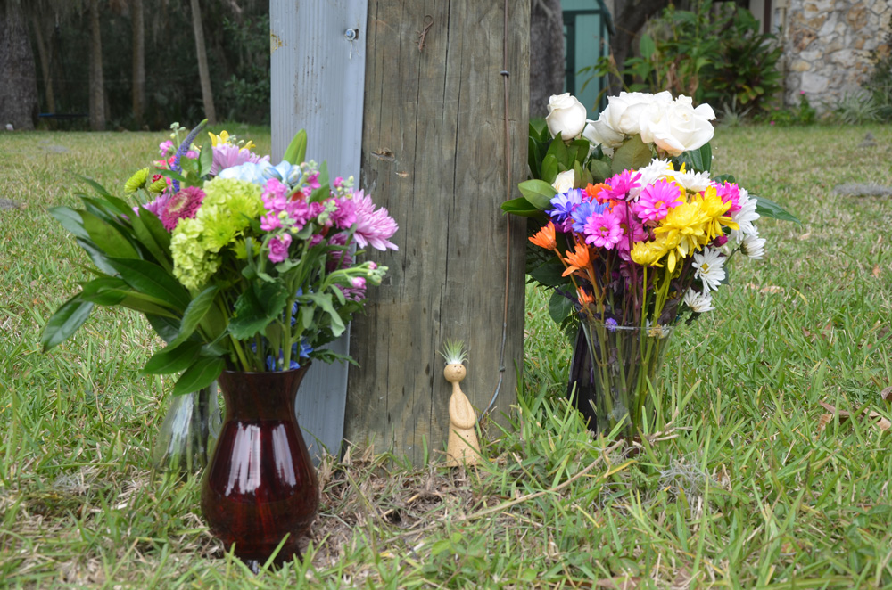 The memorial by the utility pole the next day. (© FlaglerLive)