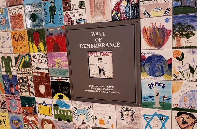Children's drawings make up a wall of remembrance at the U.S. Holocaust Memorial Museum in Washington, D.C. (Pew Charitable Trusts)