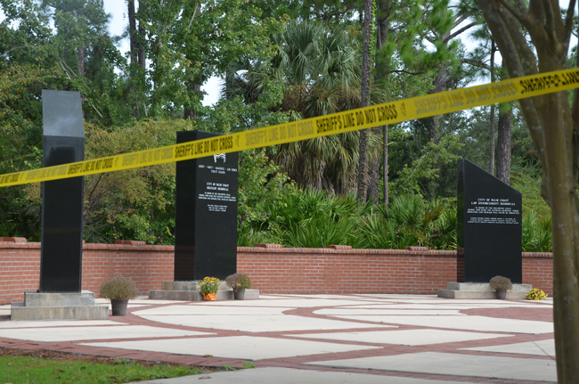Heroes Park's memorials include a monument dedicated to fallen law enforcement officers. (c FlaglerLive)