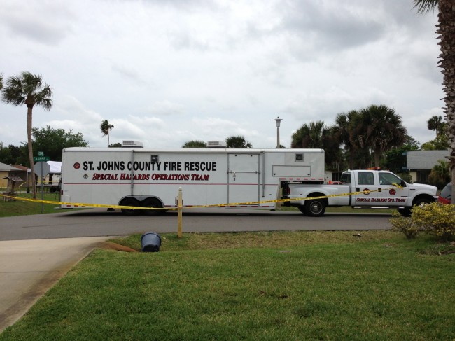 The St. Johns hazmat unit at the scene. Click on the image for larger view. (© FlaglerLive/contributed)