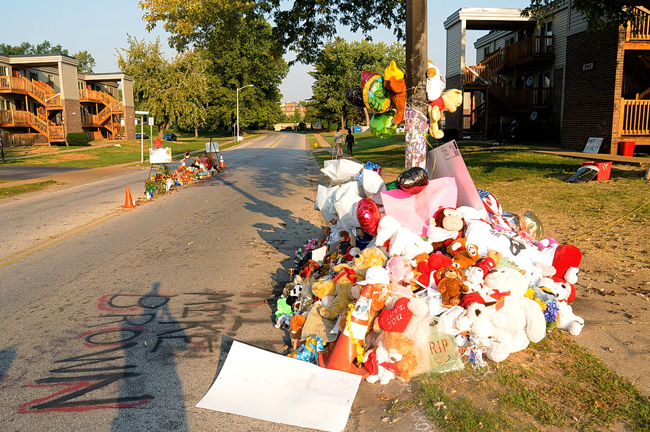 Where Michael Brown was felled. (St. Louis County prosecutor's office)