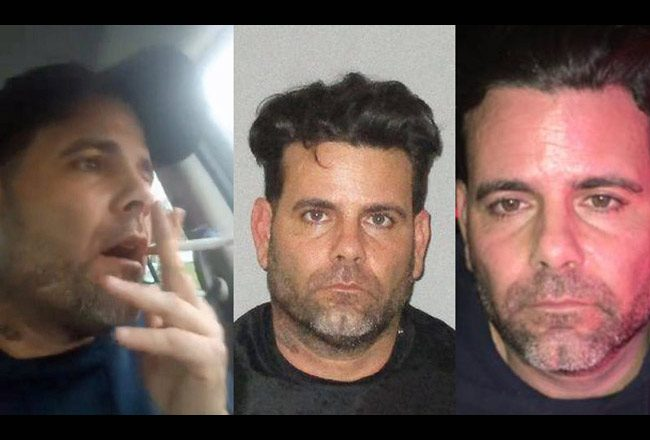 Michael Eugene Moore during his stand-off with Flagler County Sheriff's deputies, left, then immediately after his arrest, right, and in his Flagler County jail mugshot at his booking late Saturday.