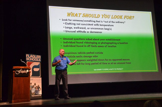 The Flagler County Sheriff's Sgt. Mike Lutz during safety training for district faculty at the Flagler Auditorium at the beginning of the school year. (© FlaglerLive)