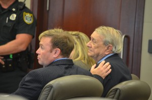 Paul Miller as he heard the guilty verdict, with his attorney Doug Williams. Miller was taken to the Flagler County jail immediately afterward, and was not allowed to speak with his family. (© FlaglerLive)