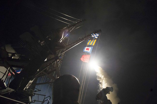 missiles attack syria USS Ross